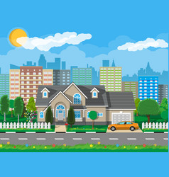 Private suburban house with car vector