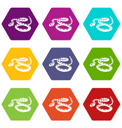 rattlesnake icons set 9 vector image