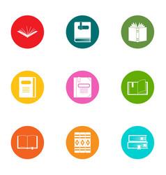 Recitation icons set flat style vector