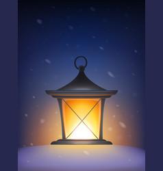 retro lantern in snow vector image