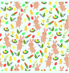 seamless easter pattern with bunnies eggs vector image