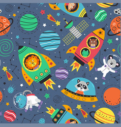 Seamless pattern with space animals in rockets vector