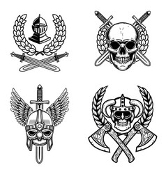 set emblems with viking ancient weapon design vector image
