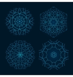 set ethnic fractal mandala meditation vector image