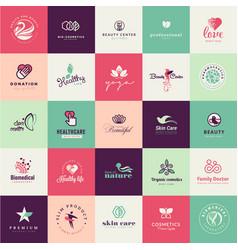 set flat design beauty icons vector image
