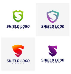 set initial s shield logo design concepts s vector image