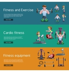Set Of Three Fitness Banners vector