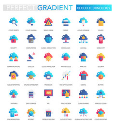 set of trendy flat gradient of cloud big vector image