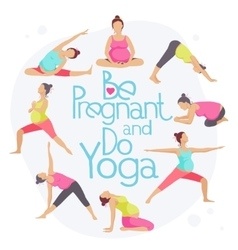 Set of Yoga poses for Pregnant women vector