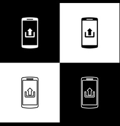 set smartphone with upload icons isolated on black vector image