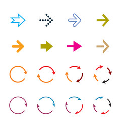 sets color circle arrows icons vector image