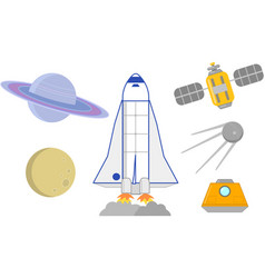Space rockets satellites and planets vector