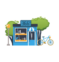 Street sale thermometer medical blue kiosk vector