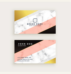Stylish marble business card with geometric gold vector