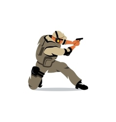Tactical shooting warrior Cartoon vector image