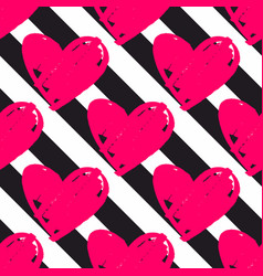 Tile pattern with black stripes and pink hearts vector