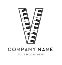 v letter logo design piano keyboard logo vector image