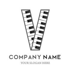 V letter logo design piano keyboard logo vector