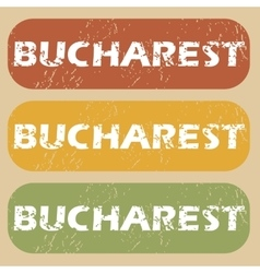 Vintage Bucharest stamp set vector