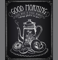 vintage poster breakfast teapot and bakery vector image