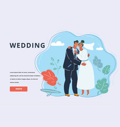 wedding couple kiss newlywed vector image