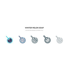 Winter melon soup icon in different style two vector