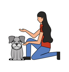 Woman with dog schnauzer pet vector