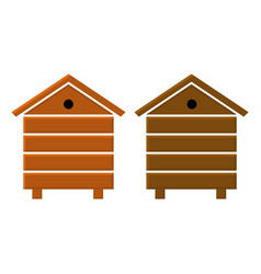 Wooden beehive icons in flat style vector