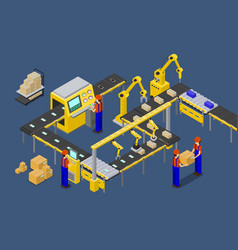 Workers on factory of boxes vector