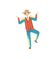 young man in traditional bright costume and cowboy vector image
