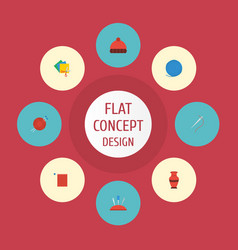 flat icons pincushion skein needlework and other vector image