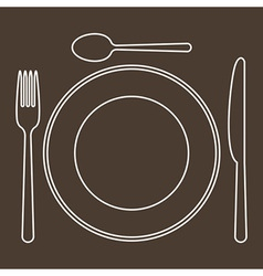 Place setting with plate knife spoon and fork vector image