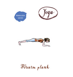 young woman doing forearm plank pose in yoga vector image vector image