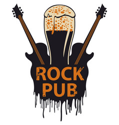 banner for rock pub with glass of beer and guitars vector image vector image