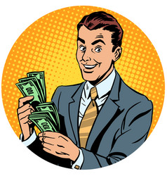 businessman counts money pop art avatar character vector image vector image