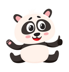 cute smiling baby panda character sitting showing vector image vector image