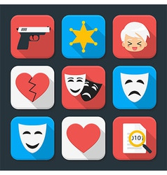 Film genre squared app icon set vector image
