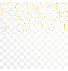 golden confetti and gold ribbons on transparent vector image