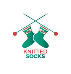 knitted socks logo vector image