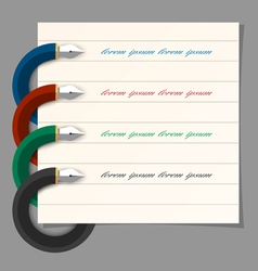 Stylized colored writing pen design for vector image
