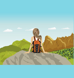 woman traveler sitting on rocks looking at vector image vector image