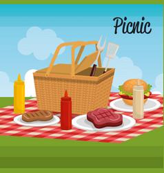 delicious picnic scene icons vector image vector image