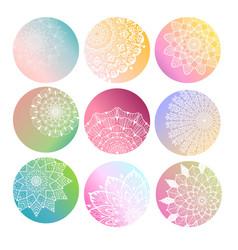 flower mandala set vector image vector image
