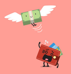 money bill flying out of wallet character vector image vector image