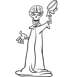 skeleton cartoon for coloring book vector image