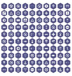100 road signs icons hexagon purple vector