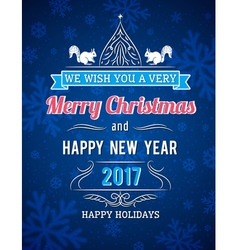 Blue Christmas card with snowflakes and greetings vector image