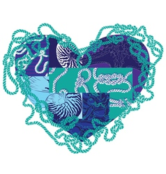 heart with elements of marine life vector image vector image