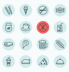 set of 16 eating icons includes soda stick vector image