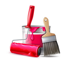 3d wall painter tool brush roller bucket vector image